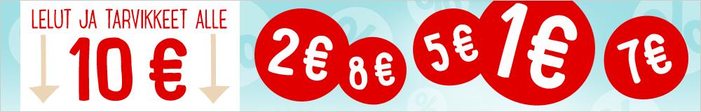 Lelut ja tarvikkeet alle 10 €