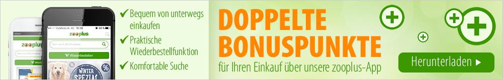 Jetzt doppelte Bonuspunkte für jede Bestellung über unsere zooplus App!