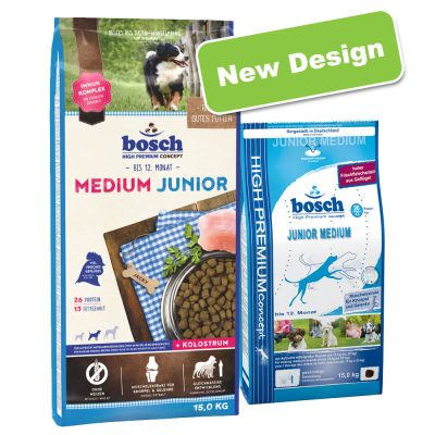 bosch dog food on sale now at zooplus bosch junior medium. Black Bedroom Furniture Sets. Home Design Ideas