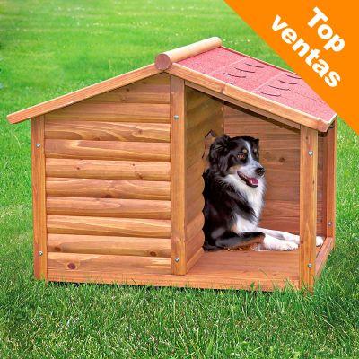 Caseta trixie natura con terraza para perros for Casetas para perros aki