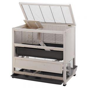 Gabbia conigliera roditori e conigli a due piani in legno for Piani di piccolo cottage artigiano