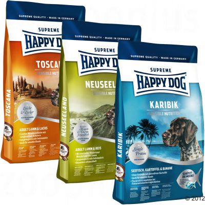 Happy Dog Culinary World Tour Mixed Trial Pack 3 X 4kg