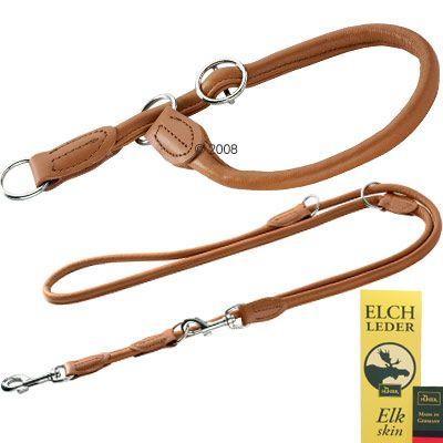 Hunter Set: Hundeleine + Halsband Round & Soft Elk cognac
