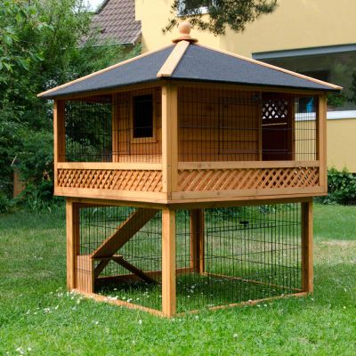 Konijnenhok outback pagode met ren for Awesome rabbit hutches