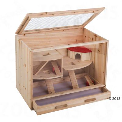 hamster cages   loft wooden cage great deals at zooplus