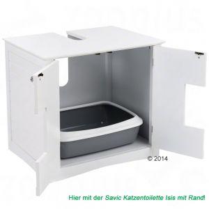 Maison de toilette pour chat meuble sous lavabo for Meuble litiere chat