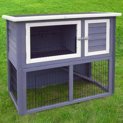 outback kaninchenstall kompakt grey mit freigehege. Black Bedroom Furniture Sets. Home Design Ideas