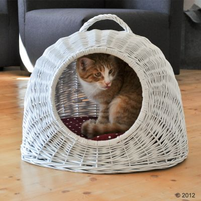 panier de transport pour chat et petit chien osier blanc. Black Bedroom Furniture Sets. Home Design Ideas