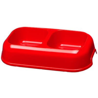 Plastic double food bowl party 07 litre free pp on for Plastic dog bowls for party
