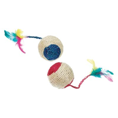 Sisal Ball with Rattle and Feathers