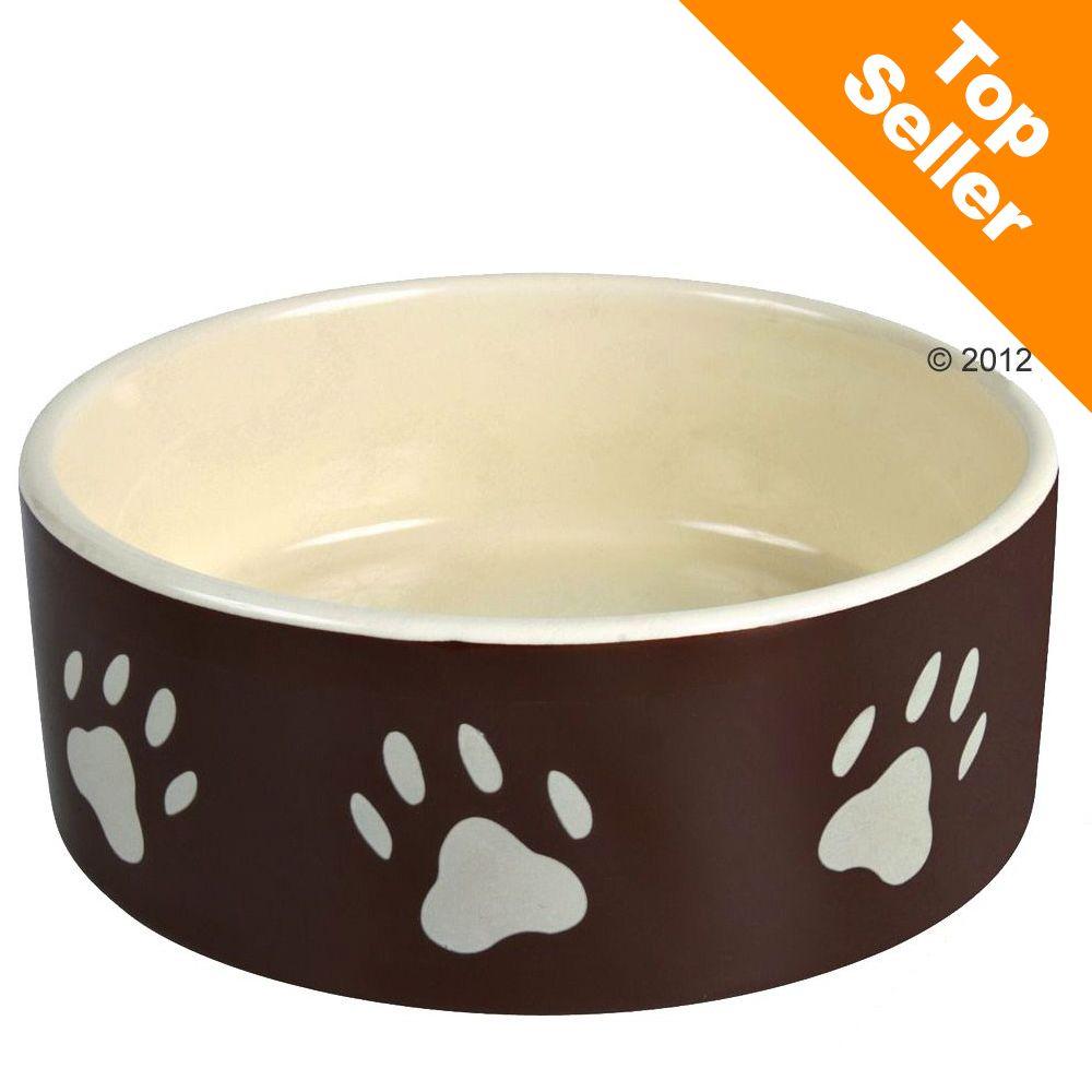 Trixie keramikskål, brun med vitt tasstryck - 0,3 l, Ø 12 cm
