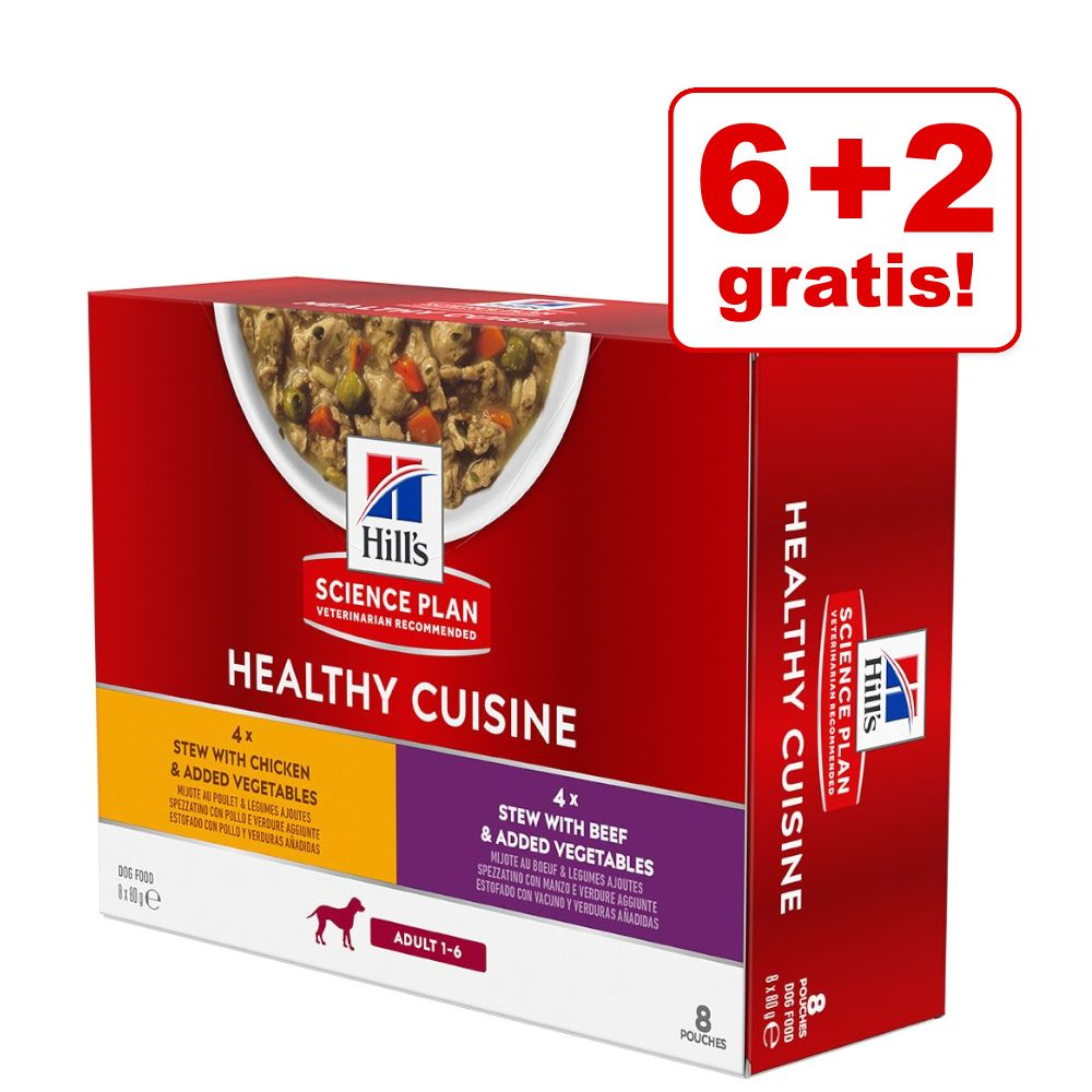 6 + 2 gratis! 8 x 80 g Hill's Science Plan Canine Adult Healthy Cuisine - Mix: Huhn & Rind