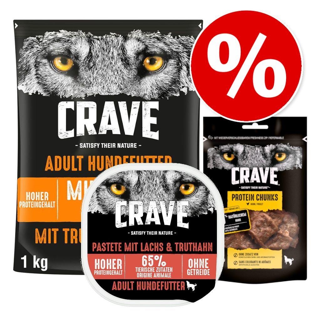 Sparpris! 1 kg Crave Adult torrfoder + 300 g Crave Paté + 55 g Crave Snacks - Turkey & Chicken + Paté Salmon & Turkey + Snack Chicken