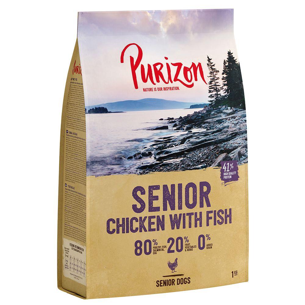 4x1kg Purizon Senior poulet, poisson sans céréales - Croquettes pour chien
