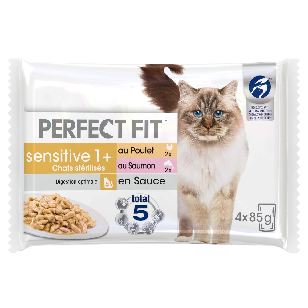 Perfect Fit Sensitive Sterilise Adult 1+ - Kyckling & lax i sås (52 x 85 g)