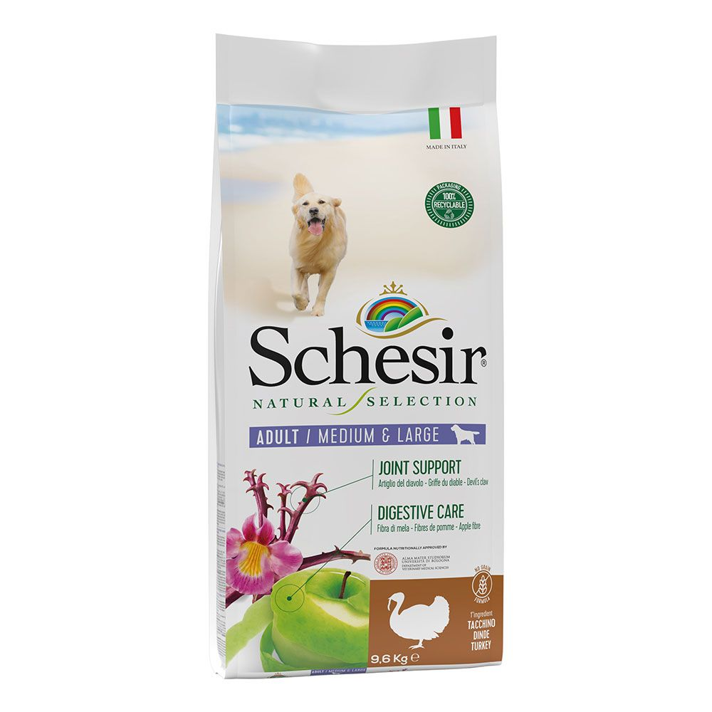 Schesir Natural Selection Adult Medium & Large mit Truthahn - Sparpaket: 2 x 9,6 kg