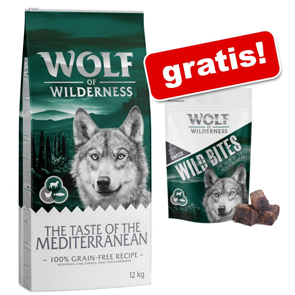 Wolf of Wilderness: 12 kg torrfoder + snack (180 g) på köpet! – Adult Green Fields Lamb + Wolfshappen Lamb