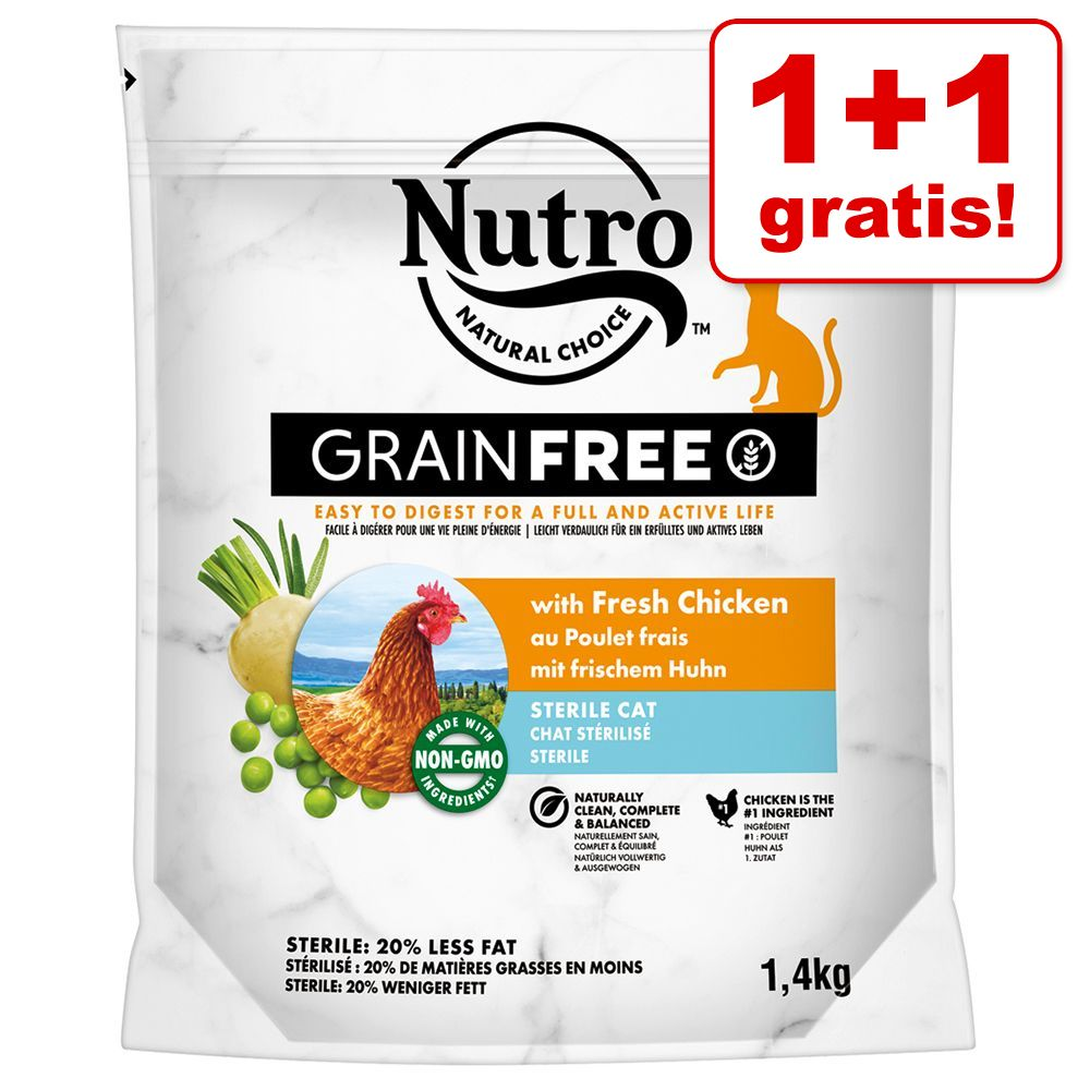 1 + 1 gratis! 2 x 1,4 kg Nutro katze Adult Grain Free  - Wild Frontier Lachs & Weißfisch