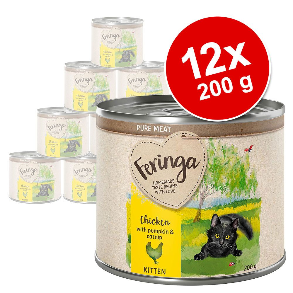 Ekonomipack: Feringa Pure Meat Kitten 12 x 200 g - Blandpack 2 sorter