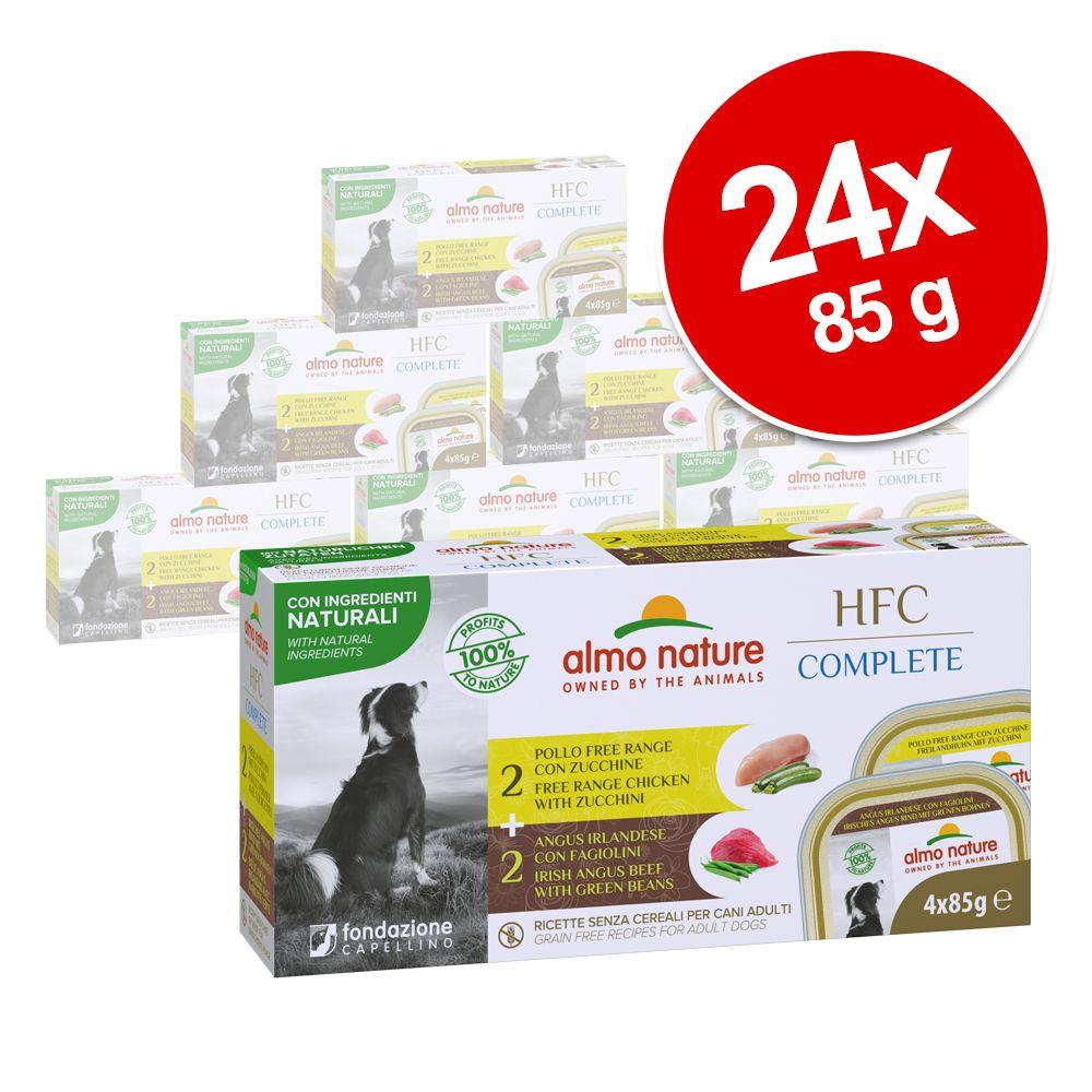 Sparpaket Almo Nature HFC Complete Dog Multipack 24x 85 g - Irisches Angus Rind mit Grünen Bohnen + Freilandhuhn mit Zucchini