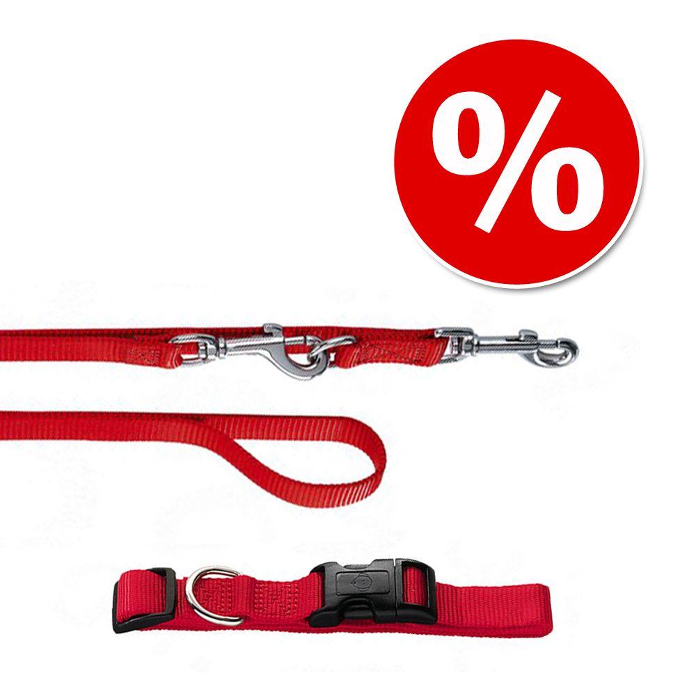 Hunter Set: Halsband Ecco Sport + Hundeleine, rot - Halsband Größe S + Leine 200 cm / 15 mm