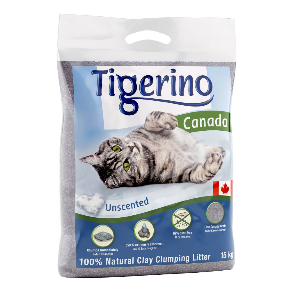 Tigerino Canada Cat Litter – Unscented - Economy Pack: 2 x 15kg