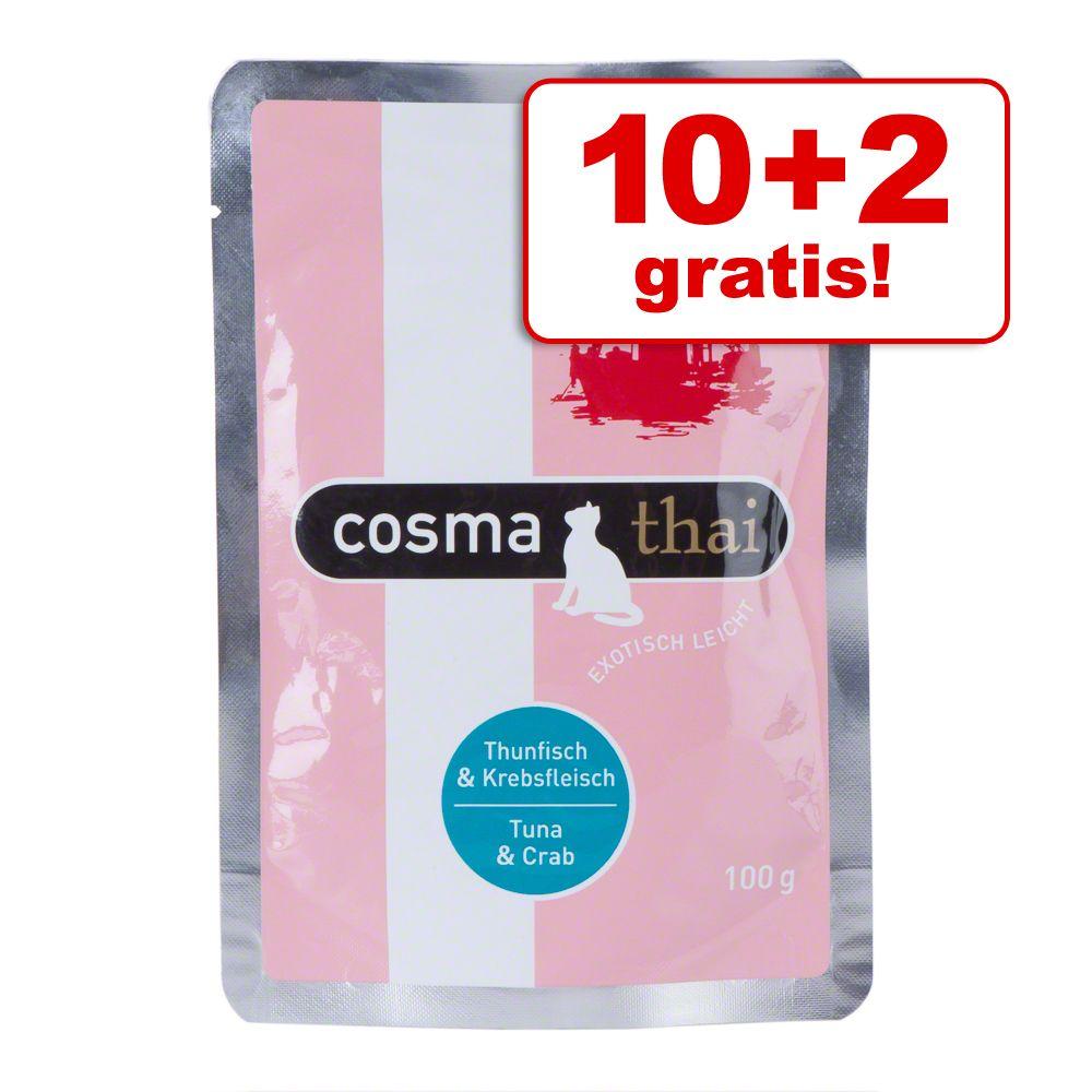 10 + 2 på köpet! 12 x 100 g Cosma Thai portionspåsar - Kyckling & tonfisk