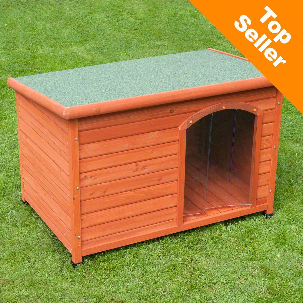 Woody Flachdach-Hundehütte mit Kunststofftür gratis - Größe L: B 115 x T 76 x H 80 cm