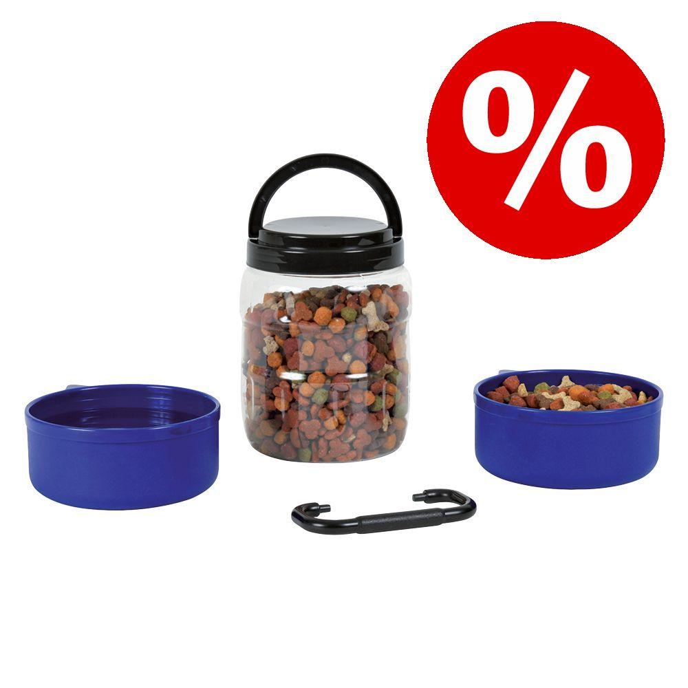 Kanonpris! Trixie reseset foderförvaring + 2 skålar - 3-delat set (2 x 0,75 l + 1 x 2 l)