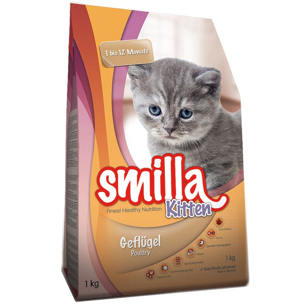 Smilla Kitten Starter Pack + Cat Bed - Dry Food (1kg) + Wet Food with Veal (6 x 200g)