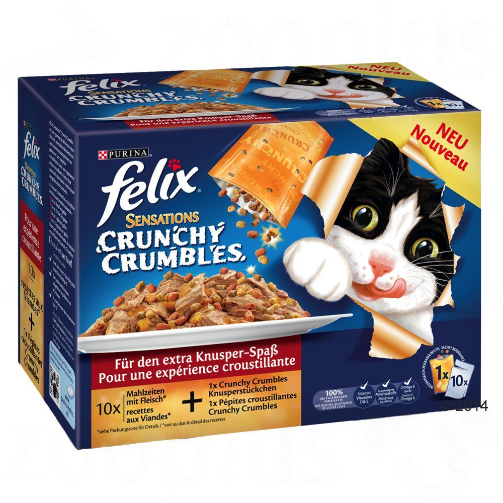 Felix Sensations Crunchy Crumbles z posypką, 10 x 100 g - Mięsna rożnorodność