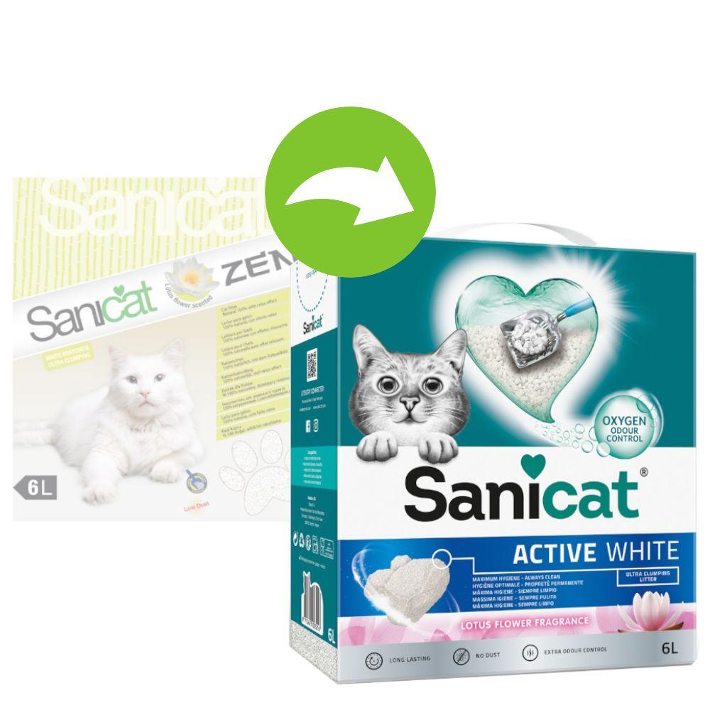 Sanicat Active White Lotus Flower kattströ Ekonomipack: 3 x 6 l