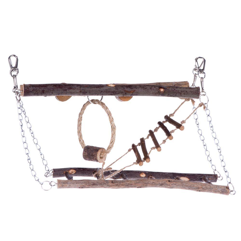 Wood Hanging Bridge for Small Pets - 27 x 17 x 7 cm (L x W x H)