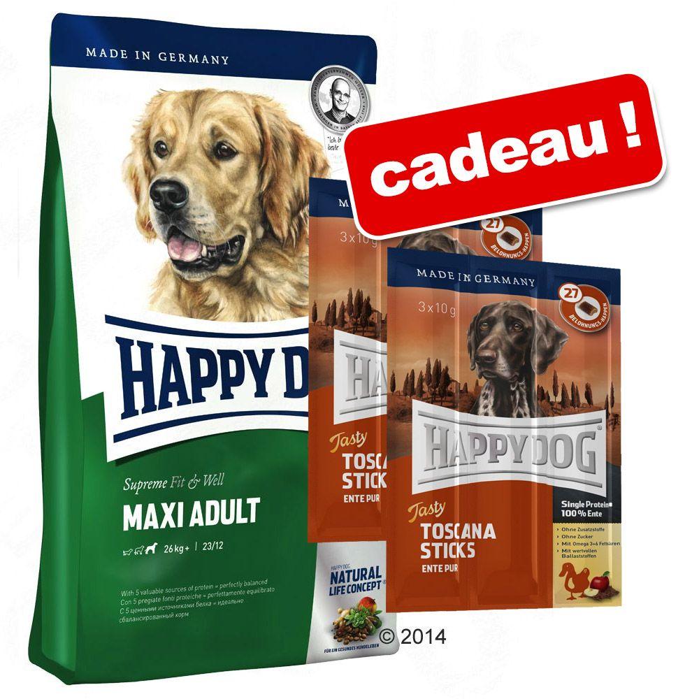 Happy Dog Supreme 10 à 15 kg + Happy Dog bâtonnets Tasty Toscane ! - Sensible Caraïbes (12,5 kg)