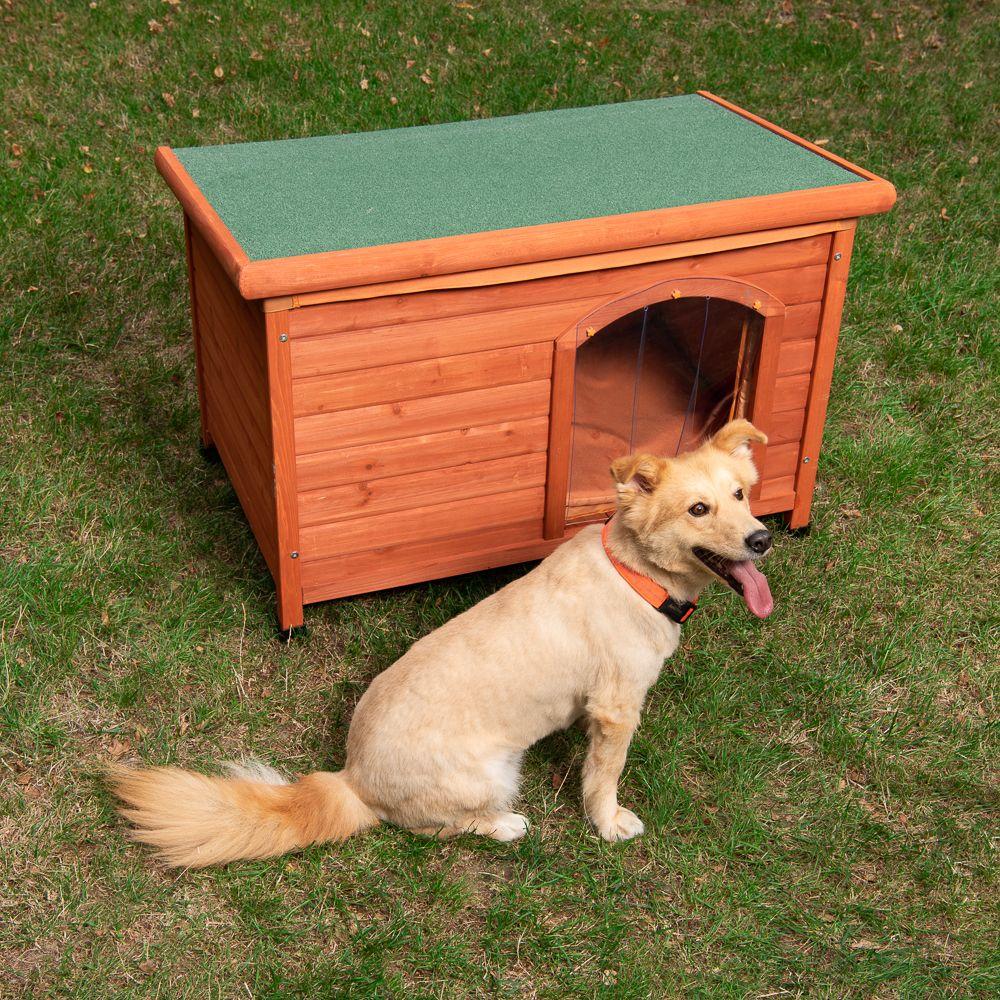 Hundehütte Woody Flachdach - Größe L: B 115 x T 76 x H 80 cm
