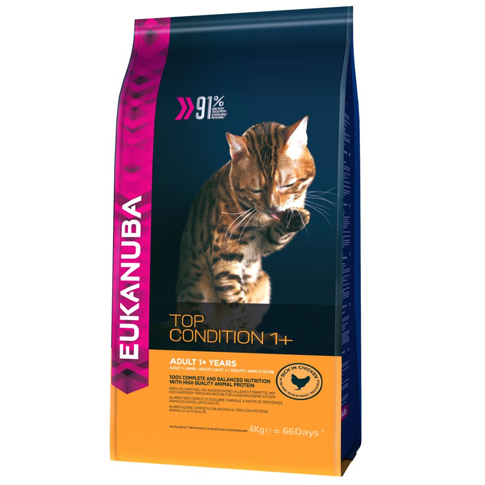 3kg/4kg Eukanuba Adult Dry Cat Food - 1kg Free!* - Top Condition 1+ Adult Chicken (4kg)