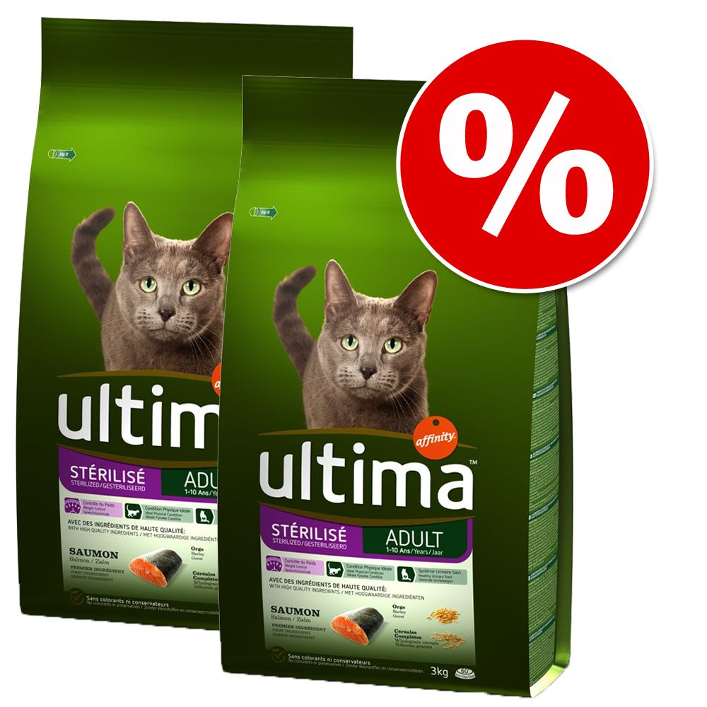 Ekonomipack: 2 / 3 påsar Ultima Cat Adult till lågt pris! - Sterilized Chicken & Barley (2 x 3 kg)