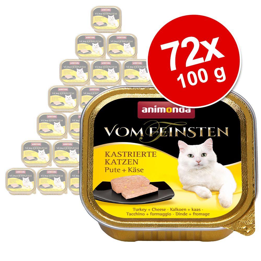 Ekonomipack: Animonda vom Feinsten för kastrerade katter 72 x 100 g - Kalkon & tomat
