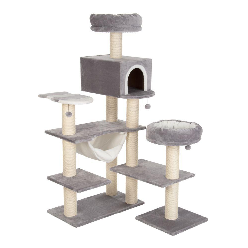 Mézeskalácsházikó XXL kaparófa macskáknak, világosszürke