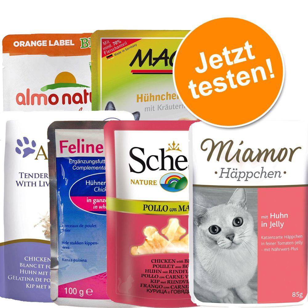 Gemischtes Pouchpaket, 6 Marken: Miamor, Schesir, Applaws, MAC´s, Almo Nature Orange, Porta 21 - Varinate 2