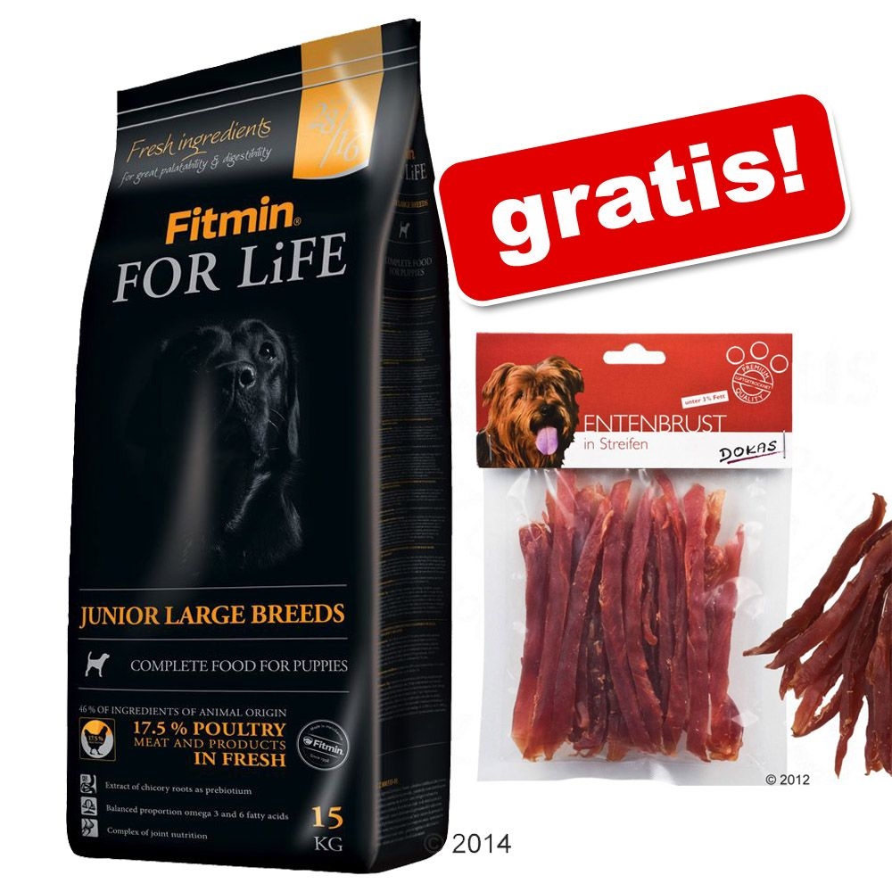 13/15 kg Fitmin + Dokas Paski do żucia, kaczka gratis! - Dog for Life Adult, 15 kg