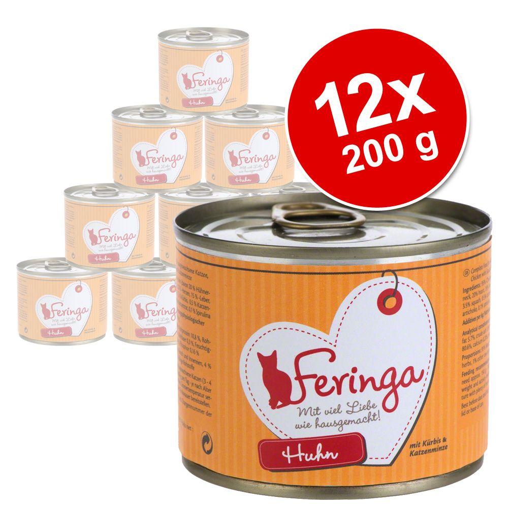 Lot Feringa Menus à la viande 12 x 200 g pour chat - poulet, potiron, menthe à chat