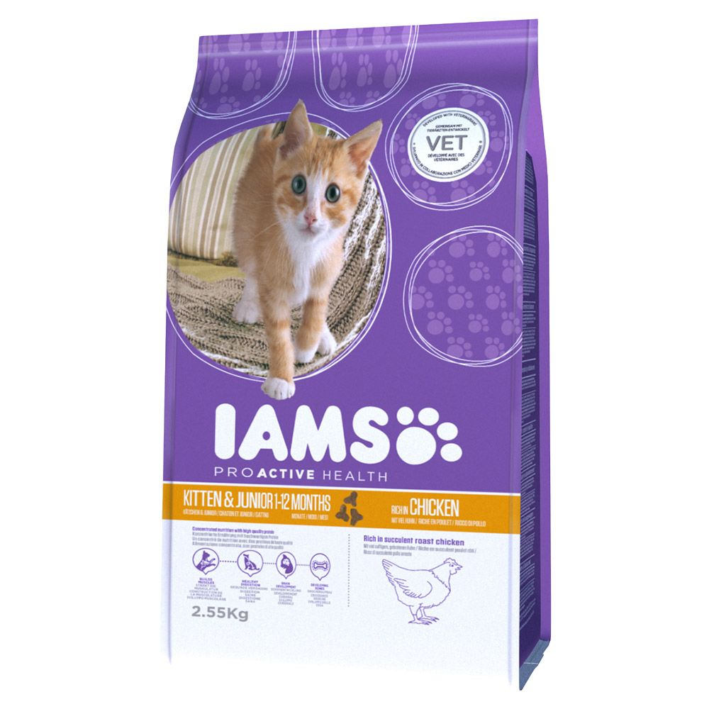 Iams Proactive Health Kitten & Junior Chicken Dry Food - Economy Pack: 2 x 10kg