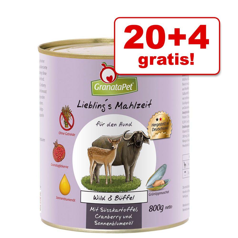 20 + 4 gratis! GranataPet Liebling's Mahlzeit, 24 x 800 g - Bażant & drób ze szpinakiem, pomidorami i olejem lnianym
