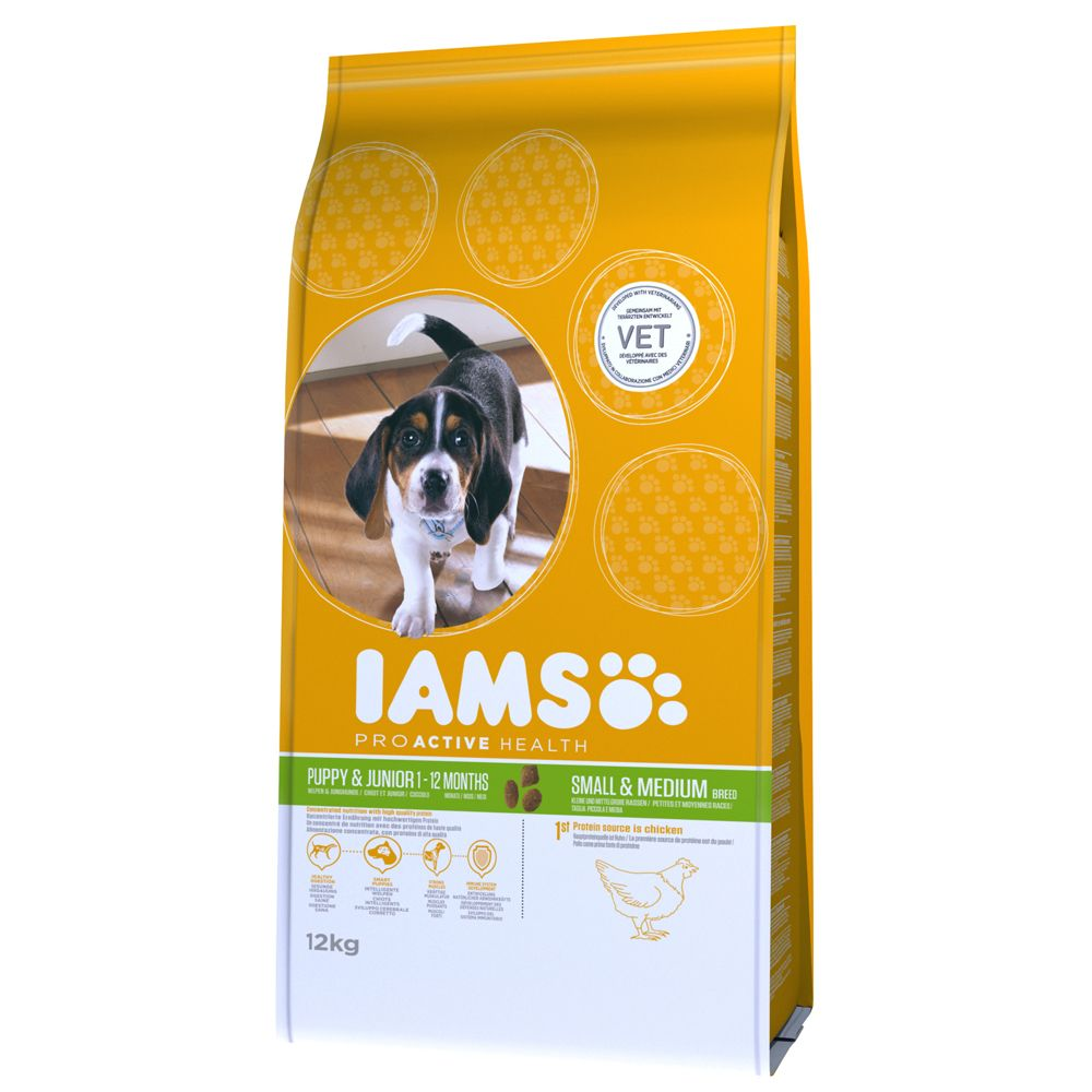 12kg Iams Proactive Health Dry Dog Food - Up to 30% Off RRP!* - Puppy & Junior Small & Medium