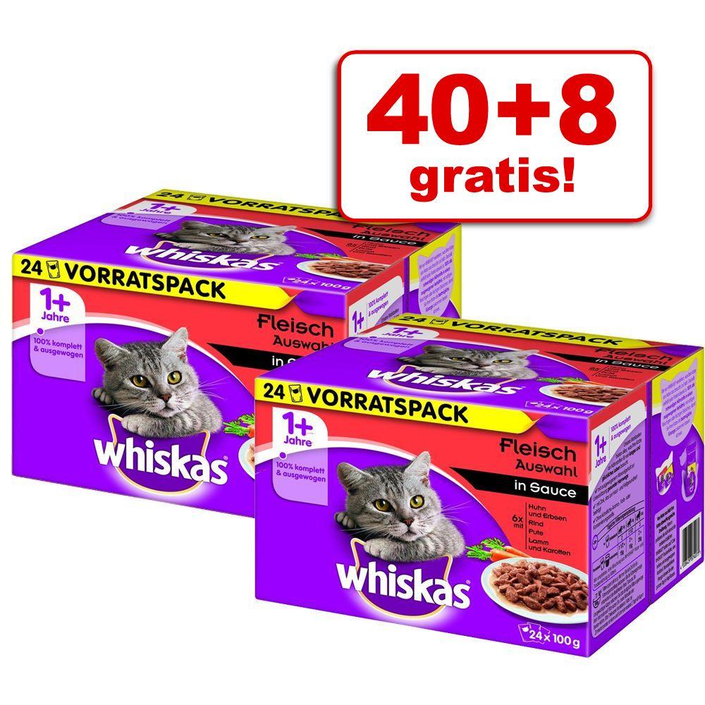 40 + 8 gratis! Whiskas 1+ saszetki, 48 x 100 g - Wybór dań mięsnych w sosie
