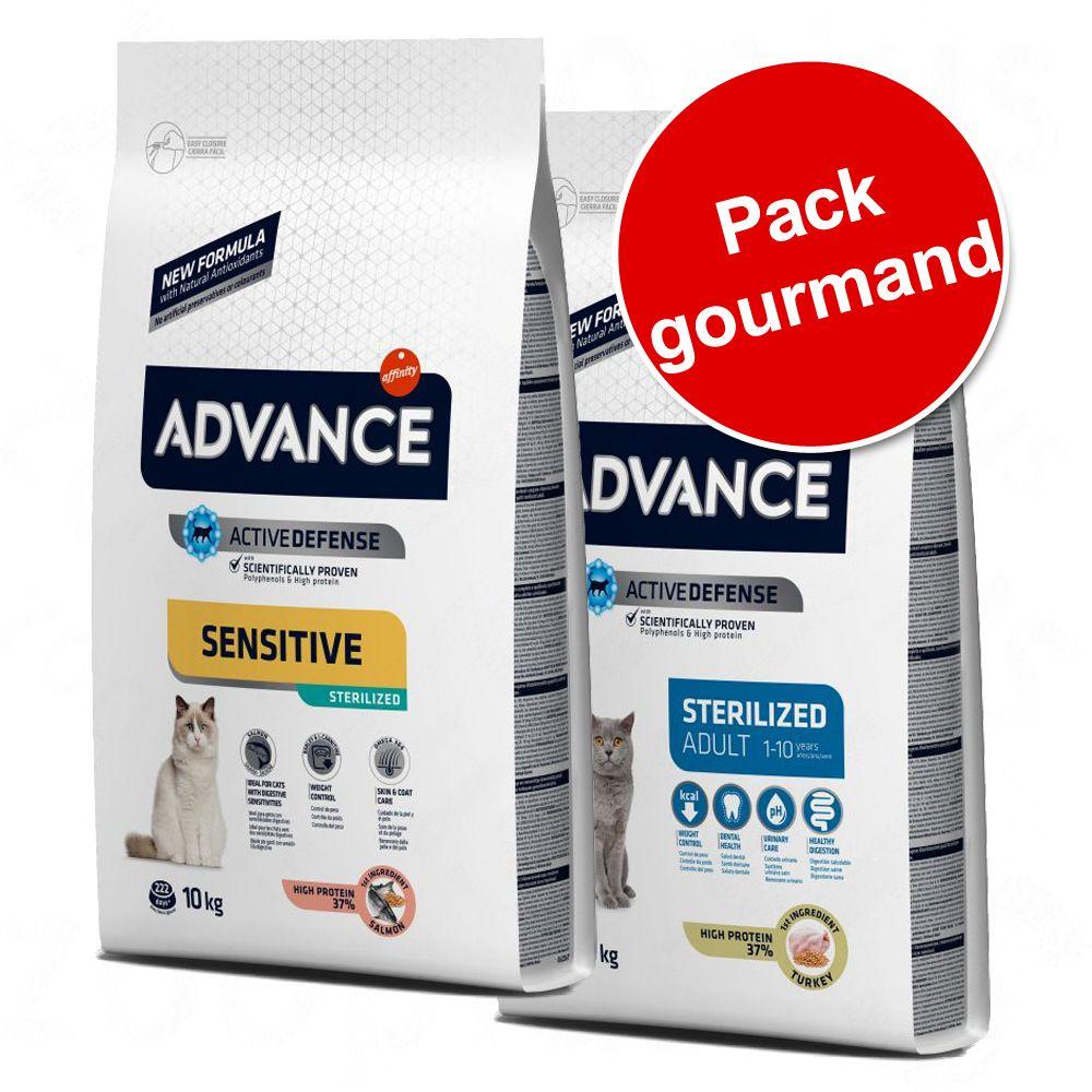 Pack gourmand Advance pour chat, 2 saveurs - Sterilized dinde, orge (15 kg) + Sterilized Sensitive, saumon (10 kg)