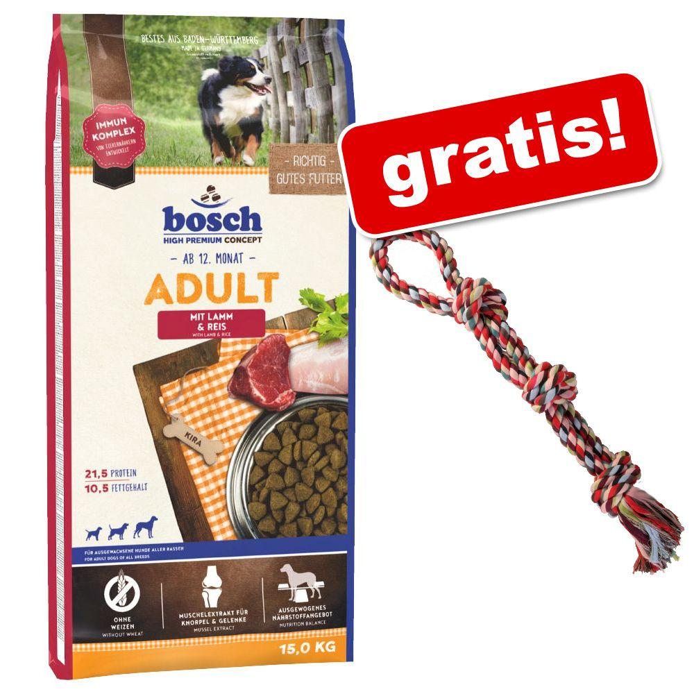 Duże opakowanie Bosch + Trixie podwójna, kolorowa linka do zabawy dla psa gratis! - Adult Lamb & Rice, jagnięcina i ryż, 15 kg