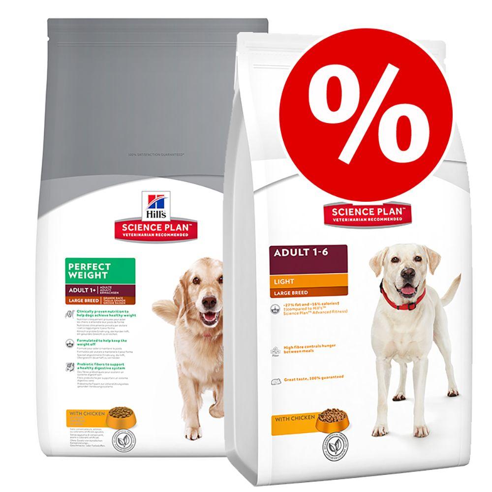 Blandat ekonomipack: 2 påsar Hill's Canine Adult Large hundfoder - Light + Perfect Weight (2 x 12 kg)