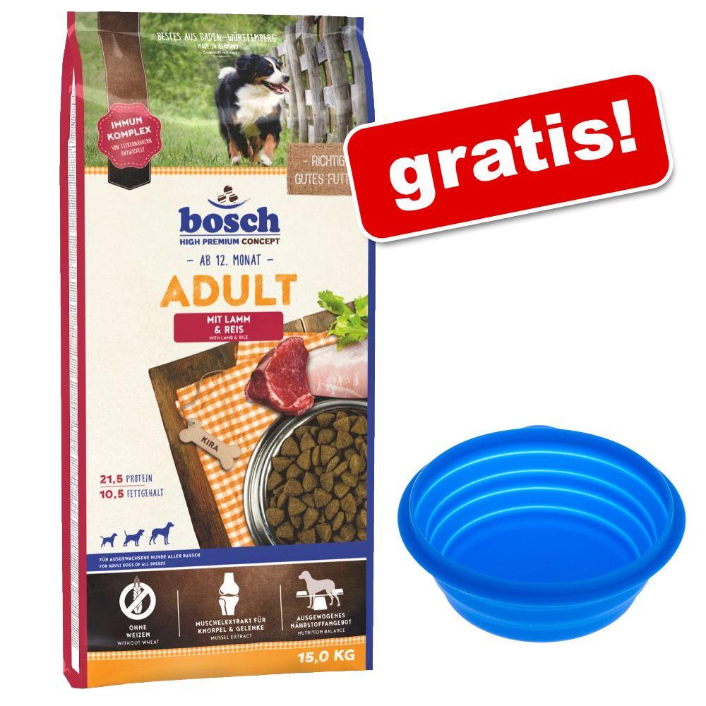 Duże opakowanie Bosch + Silikonowa miska podróżna, 1000 ml gratis! - Junior Mini, drób, 15 kg